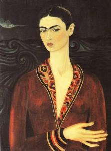 frida_kahlo_self_portrait_velvet_dress_postcard